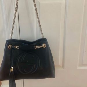 Gucci Bags - Gucci Soho Black Pebbled Leather Gold Double Chain